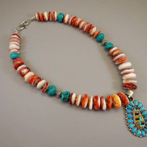 Spiny-Oyster Turquoise Custom-Pendant 20-in
