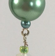 Earrings - Green Glass-Pearls and Crystals close-up v.1