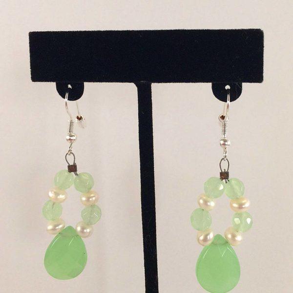 Earrings - Lime Chalcedony-Pearls v.1