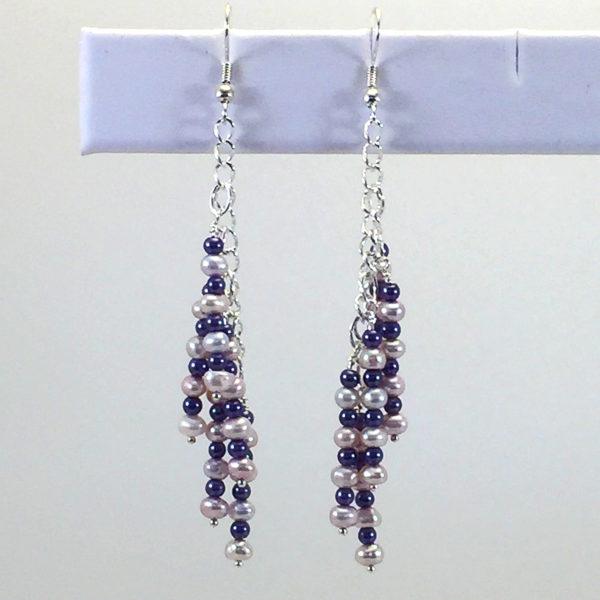 Earrings Dangle-pearls-GlassPearls-white-purple
