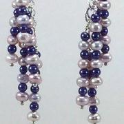 Earrings Dangle-pearls-GlassPearls-white-purple-C1